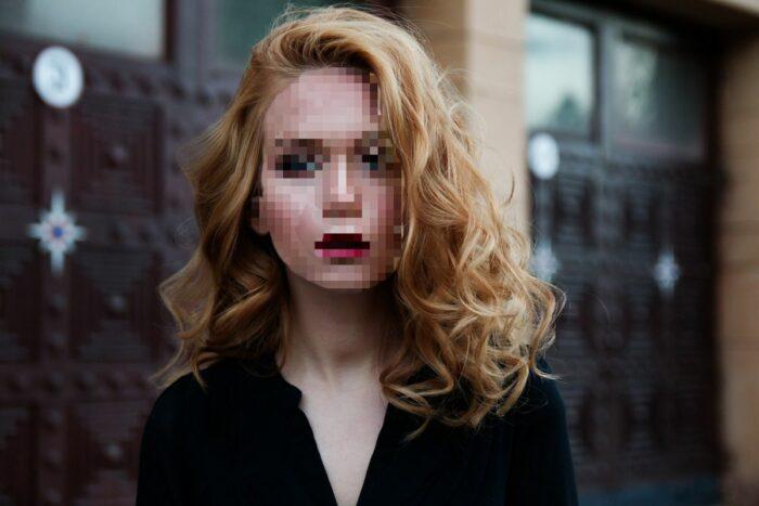 pixelated girl face