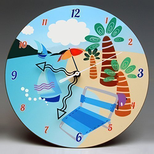 What a whimsical and colorful way to add color to a room! Check out the Beach Wall Clock on Amazon Handmade