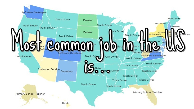 Everything Mixed I Wouldn T Have Guessed It The Most Common Job In The Us And Each State Is Everything Mixed