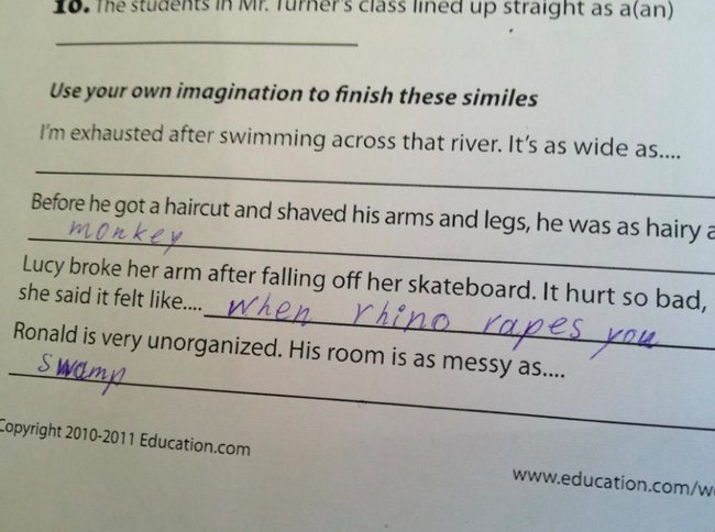 wrong but funny test answers 16